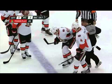 Erik Karlsson is injured by Matt Cooke's skate. Feb 13th 2013