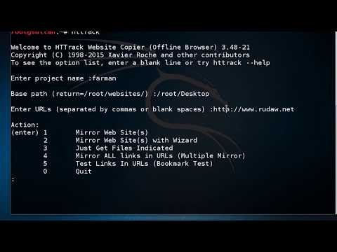 Mirroring websites on Kali Linux using HTTrack tool