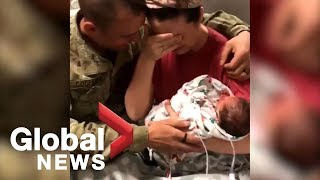 Viral video shows wife's surprise as soldier husband returns for birth of twins