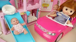 Slide house and baby doll car amusement park toys baby Doli play