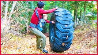 Rolling GiANT Tractor Tire Down A Hill