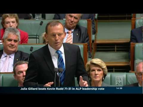 Tony Abbott speaks in Parliament about the Labor leadership ballot (27-2-2012)
