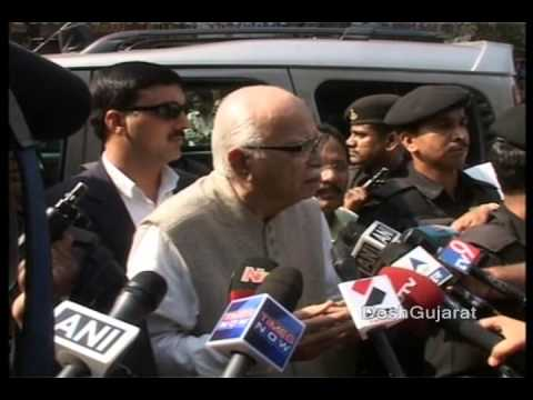 Shri Lal Krishna Advani (LK Advani) speaks to media persons in Amdavad after voting