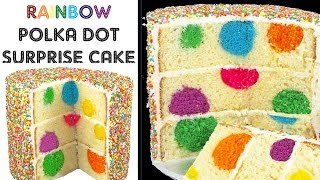 Rainbow Polka Dot Cake - Surprise Inside Sprinkle Cakes with Cupcake Addiction