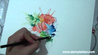 Desenho rosa aquarelada - Watercolor drawing - Danny Tattoo