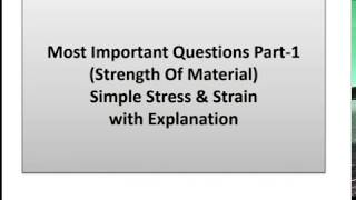 Simple Stress and Strain  strength of material MCQ for SSC JE, RPSC AE, RAILWAY EXAM, ESE, GATE