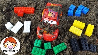 Learn numbers with Disney cars Colorful blocks of Lightning McQueen and the sandbox!! PINKYPUNKY