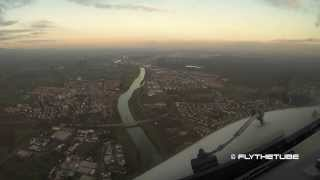 Time laps Flight from Turin to Frankfurt Airport. HD Cockpit View