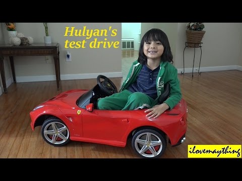 Hulyan's RC Power Ride-On Ferrari F12 Sports Car Indoor Test Drive :-)