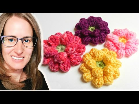 Crochet Flowers Patterns Youtube : Crochet Flower Tutorial - www.myhobbyiscrochet.com - YouTube