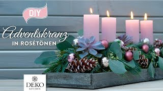 DIY-Weihnachtsdeko: edler Adventskranz mit Eukalyptus in Rosétönen [How to] Deko Kitchen