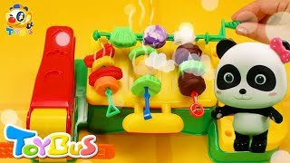 Panda Miumiu Cook Food on a Barbecue | Firefighter Puts out  Fire | Kids Pretend Play | ToyBus