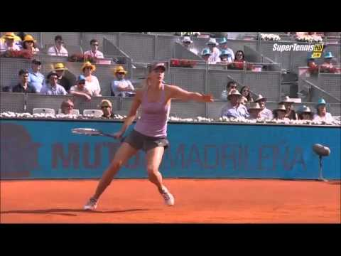 Sharapova vs Halep wins a point after left-hand forehand (Madrid 2014)