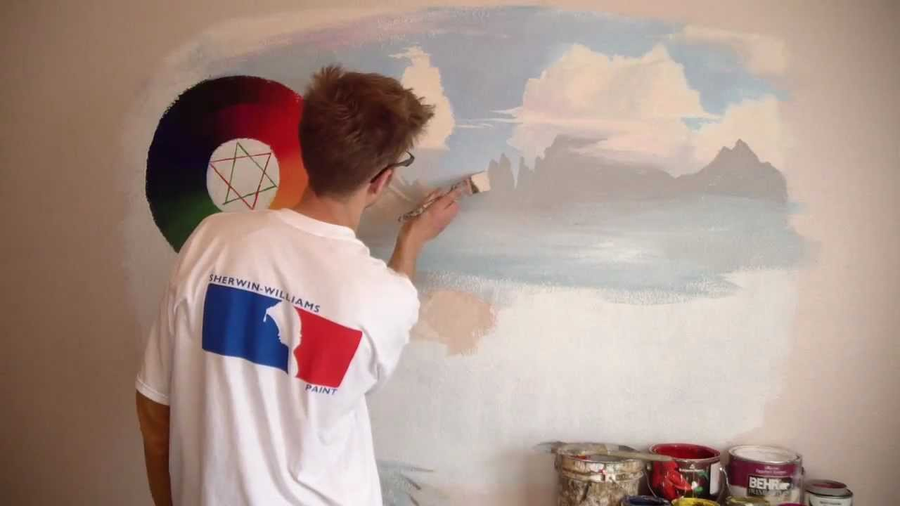 Color theory and paint 3 mountains mural joe youtube for Mural joe painting
