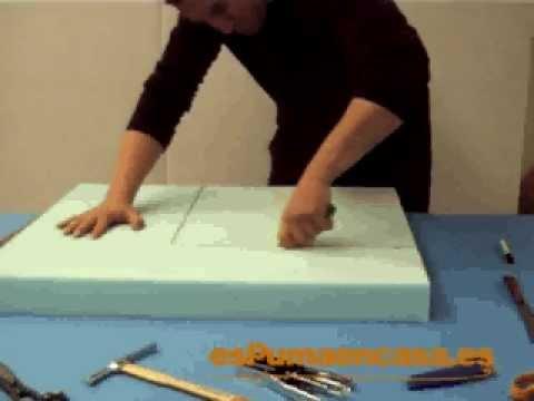 C mo cortar una pieza de espuma youtube - Esponja para tapizar ...