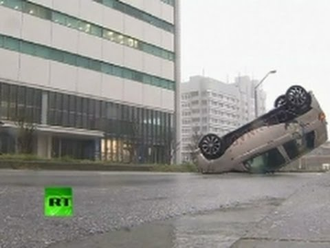 Gone with the Typhoon: Car blown away by wind in Japan