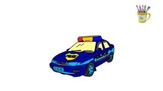 Xe cảnh sát - Bé tập tô màu xe cảnh sát