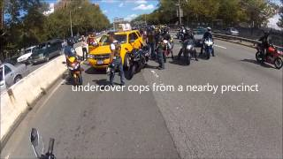 Cab hits biker on NYC highway...