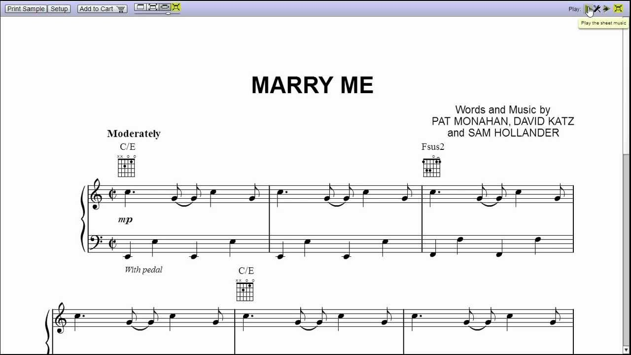 Marry me Train Sheet Music Free Train Marry me Piano Sheet