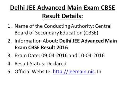 Delhi JEE Advanced Main Exam CBSE Result 2016 Rank Card & Cut Off