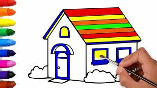 House Coloring and drawing Learn Colors for kids - Drawing for Kids