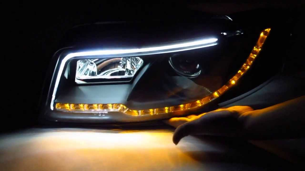 CrazyTheGod A4/S4 2001-2004 4D B6 8E/8H Projector LED R8 HEADLIGHT w/Amber Black for AUDI - YouTube