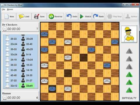 DrCheckers running on a PC - International Draughts Game
