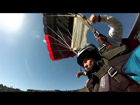 102 year old Dorothy Custer does a base jump
