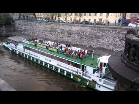 Prague, Vltava River, Boat (...and some Trams on a bridge)