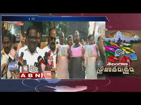 Opposition Leaders stopped Truck carrying Bathukamma Sarees || ABN Telugu