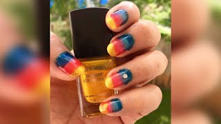 How to do Striped Tri-Colour Nail Art at home| DIY Nail Art| Nail Art Designs