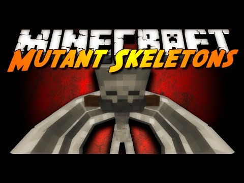 Minecraft Mod Review: MUTANT SKELETON BATTLE! (Mutant Creatures Mod)