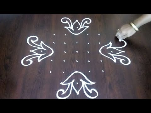 Leaves  Kolam Design 9 x 1 || Simple Flower And Leaves  Rangoli || Easy Muggulu || Fashion World