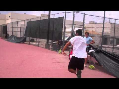 Sprinting at Summer Tennis Program at Socorro High School, El Paso TX.
