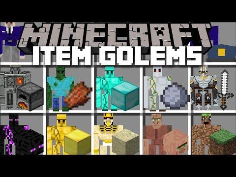 Minecraft ITEM GOLEM MOD / SPAWN ODD GOLEMS AND WATCH THEM PROTECT YOU TO SURVIVE!! Minecraft