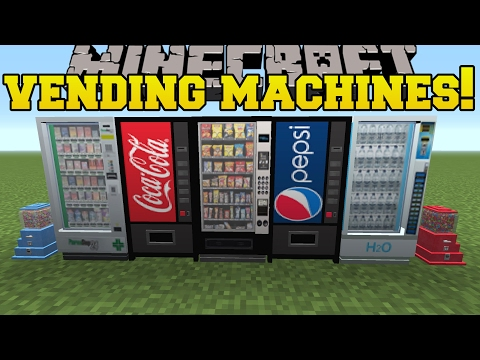 Minecraft: VENDING MACHINES!!! (COKE. PEPSI. SNACKS. PHARMACY & MORE!!) Mod Showcase