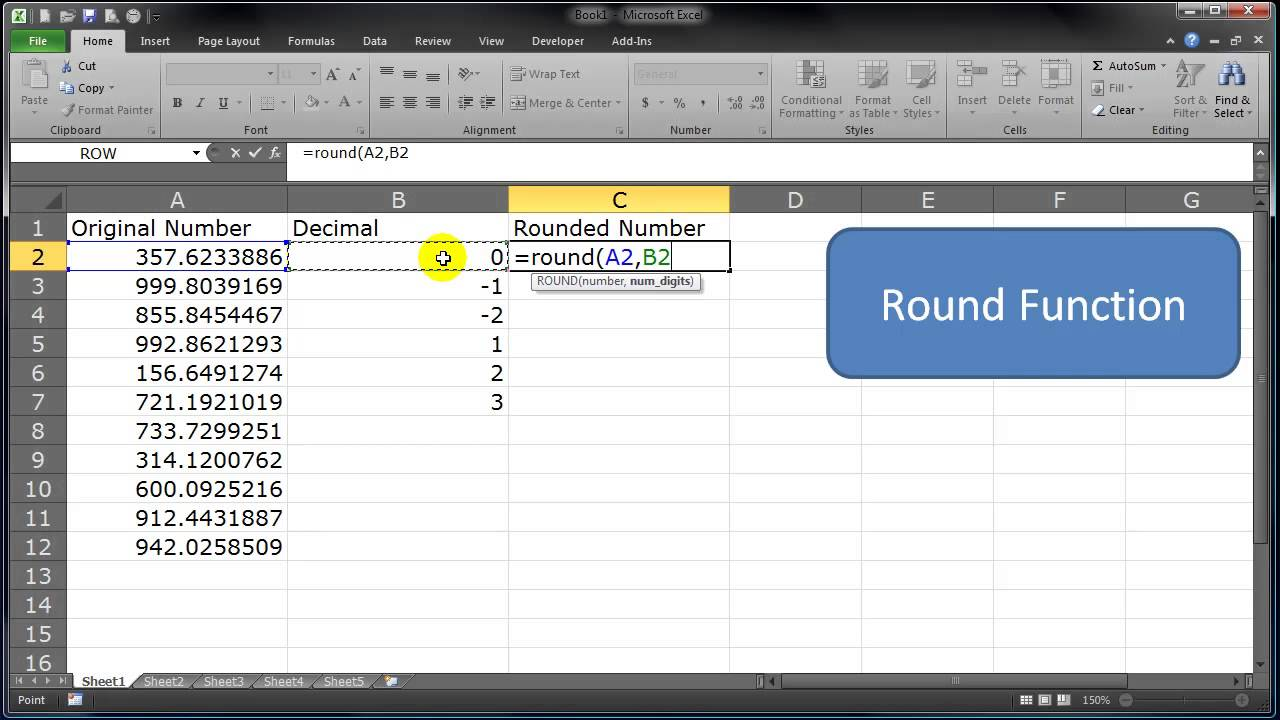using the round function in excel