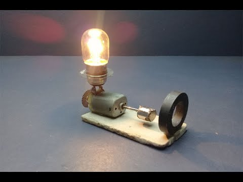Light Bulb 12V , DC Motor Using Free Energy Generator With Small Magnet thumbnail
