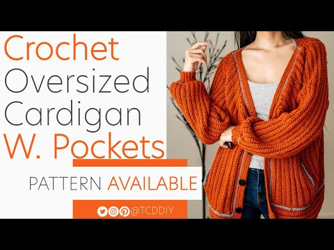 Crochet Oversized Cardigan with Pockets | Tutorial DIY