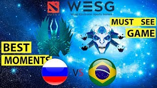 MUST SEE! Highlights Team RUSSIA vs BRASIL (Pain Gaming) WESG DotA2 Group stage