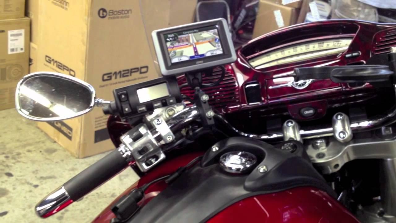 Led Lights For Motorcycle >> 2009 Yamaha Venture Custom GPS mount and LED Lights - YouTube