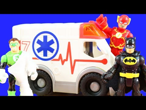 Batman Superhero Training Obstacle Course | Green Lantern Gets Boo Boo Rides In Ambulance