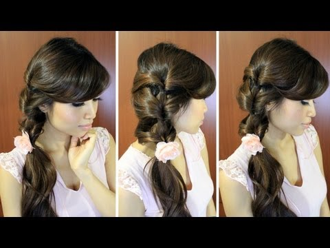 Fancy Loop Ponytail Hairstyle for Medium Long Hair Tutorial