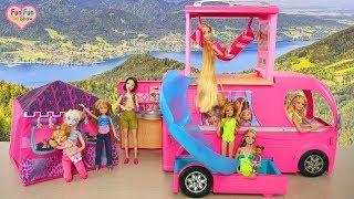 Barbie Pop Up Camper with Water Slide boneka Barbie Kemping mainan Barbie Campista brinquedo