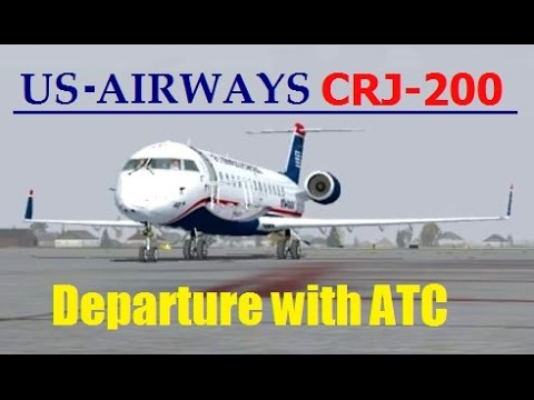 FSX VATSIM Charlotte Departure with ATC | US Airways Express CRJ-200
