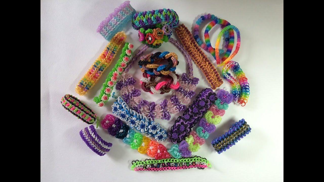 Моя коллекция браслетов из резинок Rainbow Loom - YouTube