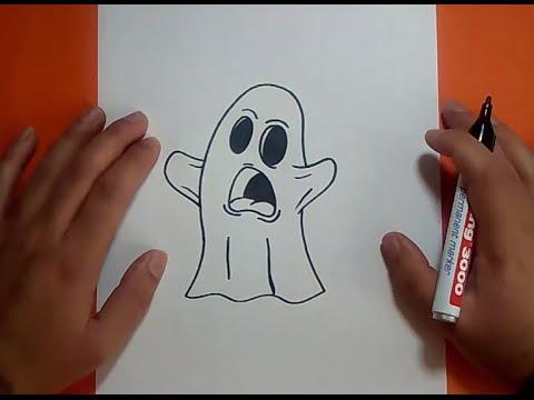 Como dibujar un fantasma paso a paso 9 How to draw a ghost 9