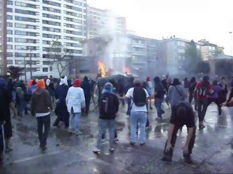 Guanaco quemándose en Concepción 2011