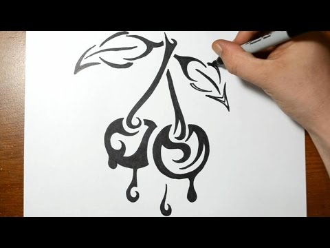 How to Draw Dripping Cherries - Tribal Tattoo Design Style