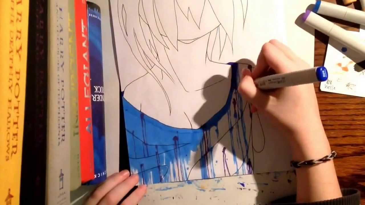 Girl Falling Drawing Girl Time Lapse Drawing
